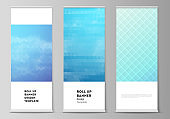The vector illustration of the editable layout of roll up banner stands, vertical flyers, flags design business templates. Abstract geometric pattern with colorful gradient business background.