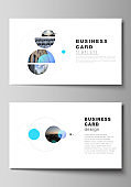 The minimalistic abstract vector layout of two creative business cards design templates. Simple design futuristic concept. Creative background with circles and round shapes that form planets and stars