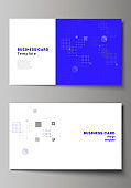 The minimalistic abstract vector illustration of the editable layout of two creative business cards design templates. Abstract vector background with fluid geometric shapes.