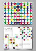 The minimal vector illustration layouts. Modern creative covers design templates for trifold brochure or flyer. Abstract background, geometric mosaic pattern with bright circles, geometric shapes.