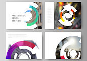 The minimalistic abstract vector layout of the presentation slides design business templates. Futuristic design circular pattern, circle elements forming geometric frame for photo.