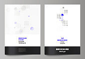 The vector layout of A4 format modern cover mockups design templates for brochure, magazine, flyer, booklet, annual report. Abstract vector background with fluid geometric shapes.