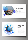 The minimalistic abstract vector illustration of the editable layout of two creative business cards design templates. Creative modern blue background with circles and round shapes.