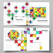 The vector illustration layout of two covers templates for square design bifold brochure, magazine, flyer, booklet. Abstract background, geometric mosaic pattern with bright circles, geometric shapes