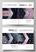 Business templates for bi fold brochure, flyer, booklet. Cover template, layout in A4 size. Abstract colorful neon dots, dotted technology background. Futuristic texture, digital vector design.