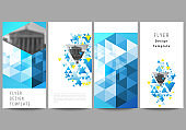 The minimalistic vector illustration of the editable layout of flyer, banner design templates. Blue color polygonal background with triangles, colorful mosaic pattern.