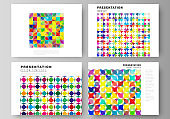 The minimalistic abstract vector illustration of the editable layout of the presentation slides design business templates. Abstract background, geometric mosaic pattern with bright circles, geometric shapes.