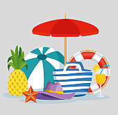 umbrella with pineapple and purse with hat and beverages