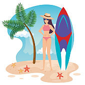 woman wearing swimsuit with hat and surfboard in the beach
