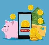 electronic smartphone technology with credit card and coins with bills