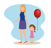 woman with daughter and balloon helium