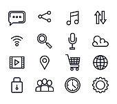 set of social media app digital technology