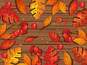leafs autumn in background wooden