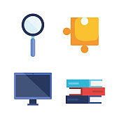 set of magnifying glass with puzzle and computer technology with books