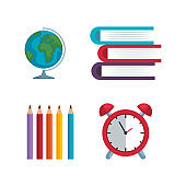 set of global map with pencils colors and books with clock alarm
