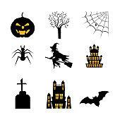 bundle of halloween with set icons
