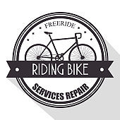 bicycle shop emblem with service repair