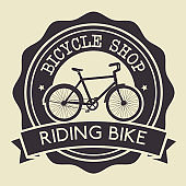 bicycle shop emblem with shop service