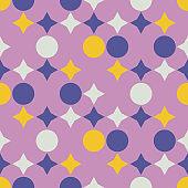 Mid century retro geometric seamless pattern, abstract creative fashion background