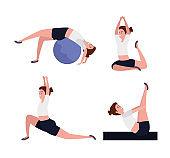 set of women practice yoga pose meditation