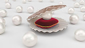 Seashell with pearls inside on red velvet pillow. Gems, women's jewelry, nacre beads. For your banner, poster, logo. Shiny sea pearls. Seashell, plurality of beautiful pearls, 3d illustration