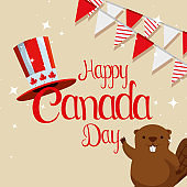 beaver with patriotic hat and canada party banner