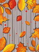 pattern of autumn with leafs in wooden