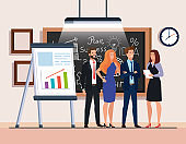 business people and chalkboard with business plan graphics