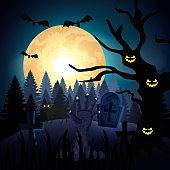 hand of zombie in the dark night and halloween scene