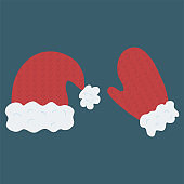 Beautiful Santa Claus mitt and hat.