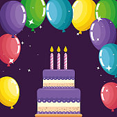 sweet cake with candles and balloons decoration