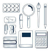 set of outline school elementary supplies