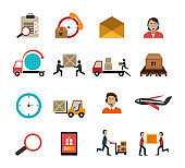 bundle of delivery service and set icons