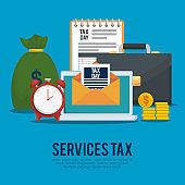 service finance tax with briefcase and coins