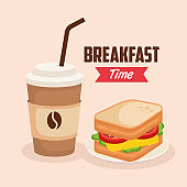 delicious sandwich with coffee plastic cup
