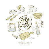 Zero waste. Kitchen products set. No plastic. Hand-drawn doodle illustration.