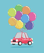 cartoon car with bunch of balloons