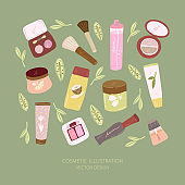 Cosmetic and makeup seamless pattern. Woman stuff, girls accessories. Face, skin care products. Hand-drawn illustration.