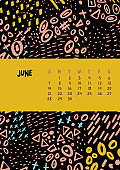 June. Vector colorful monthly calendar for 2020 year with abstract marker doodle.