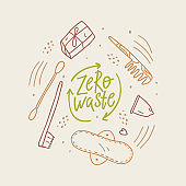 Vector illustration for eco life. Zero waste. Toothbrush, menstrual cup, sanitary pad etc. No plastic. Save the planet. Hand-drawn doodle illustration.