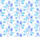 Seamless watercolor pattern background with tree leaves twigs