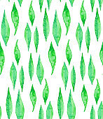 Seamless watercolor pattern background with willow leaves