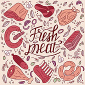 Butcher shop meat products. Fresh shank, lamb ribs, chicken, vegetables and spicy herbs. Food design.