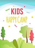Kids Happy Camp in Forest Advertising Rest Flyer