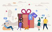 Buying Gifts on Shop Sale Flat Vector Concept