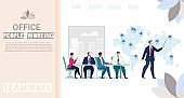 Working Office People Flat Vector Web Banner