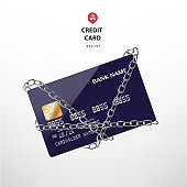 Blue credit card chained in silver chains