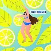 Flat Woman in Swimsuit Start Summer, Lettering.