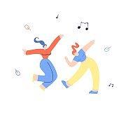 Young Clubbing Dancing Girls Flat Illustration