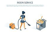 Room Service Concept Cleaning Trolley and Maid